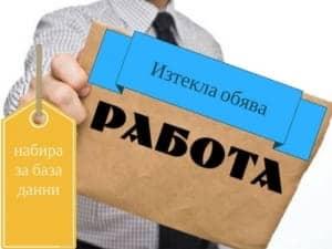 обява за работа Пловдив София