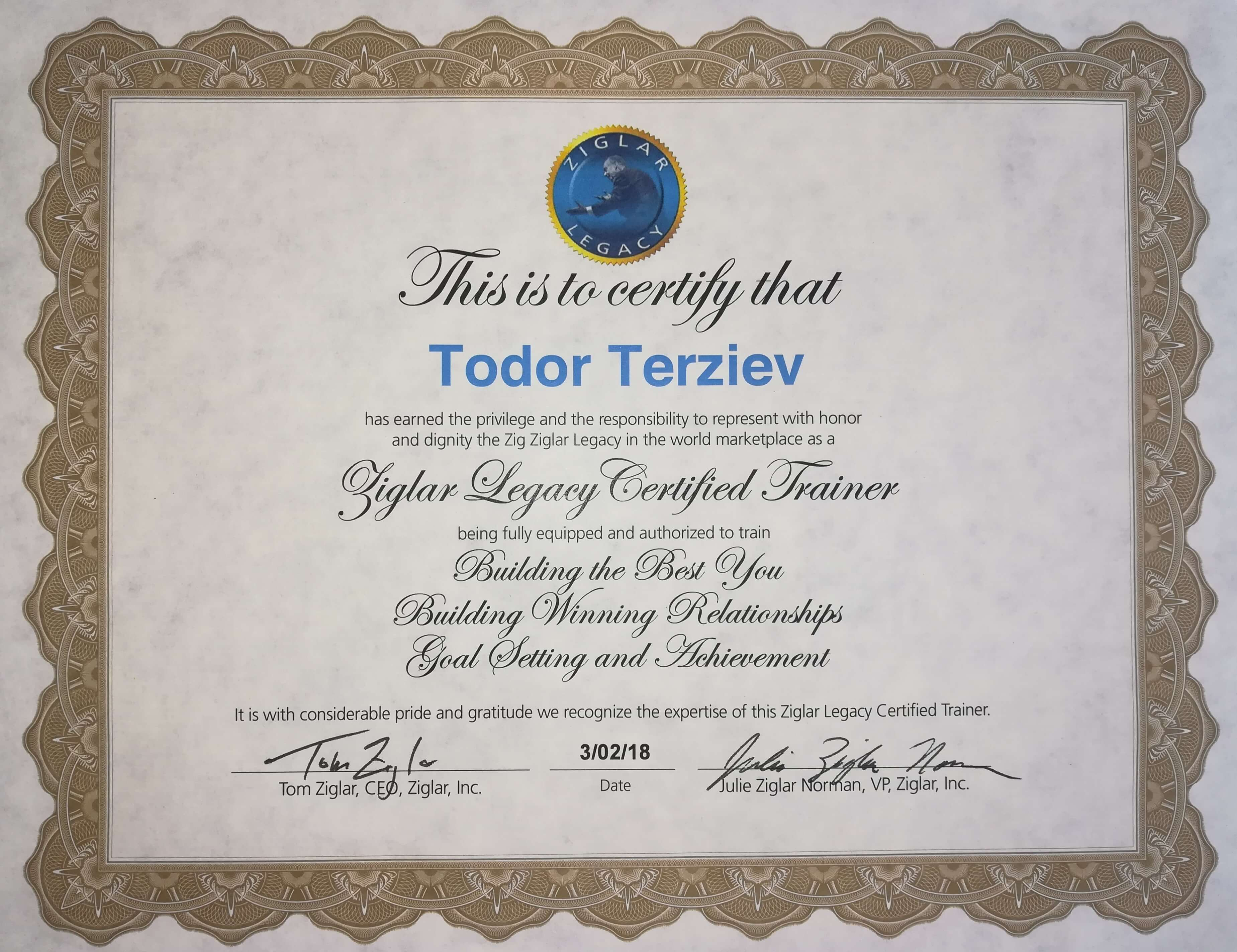 ziglar сертификат - фирмени и личностни обучения
